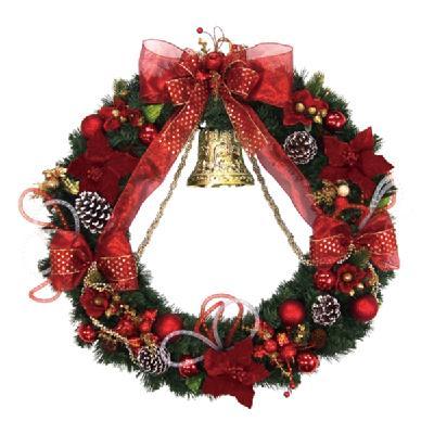 クリスマス リース 80cm エダリースレッドベル 天然素材