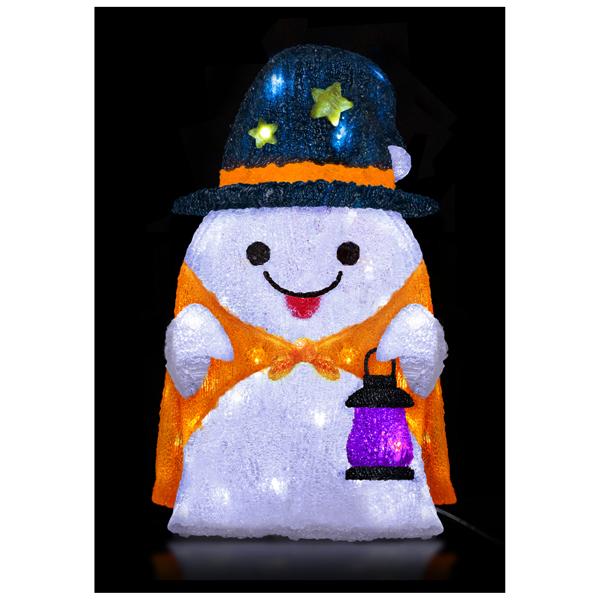 ハロウィン 装飾 LEDハロウィンクリスタルモチーフ ランタンゴースト LED球40球 58cm 常灯・屋外OK・防滴