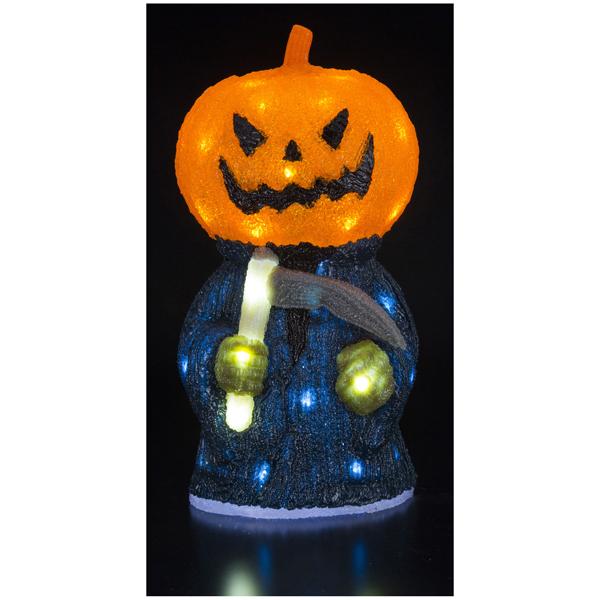 ハロウィン 装飾 LEDクリスタルモチーフ パンプキンリーパー LED球40球 高さ46.5cm 常灯・屋外OK・防滴