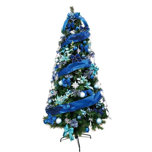 クリスマスツリー 240cmスリムツリーセット ブルー 3分割でのお届け 【代引き不可商品】