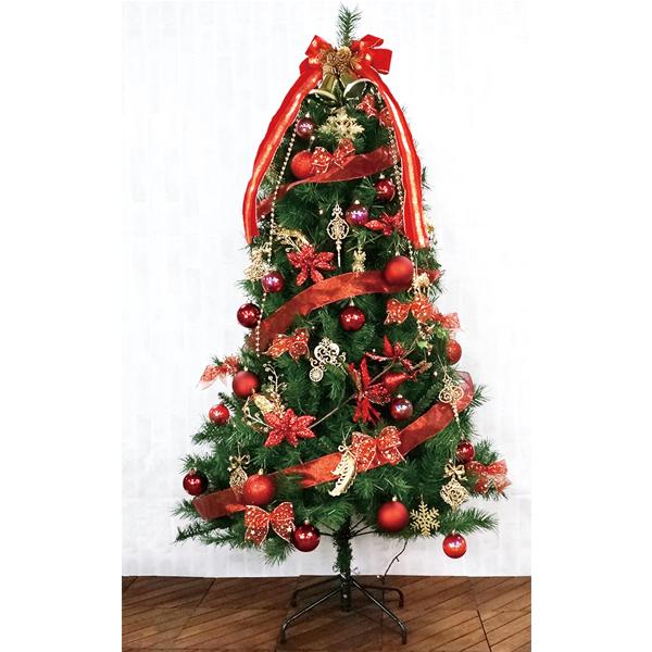 クリスマスツリー 180cm カナディアンツリーセットレッド 3分割【代引き不可商品】