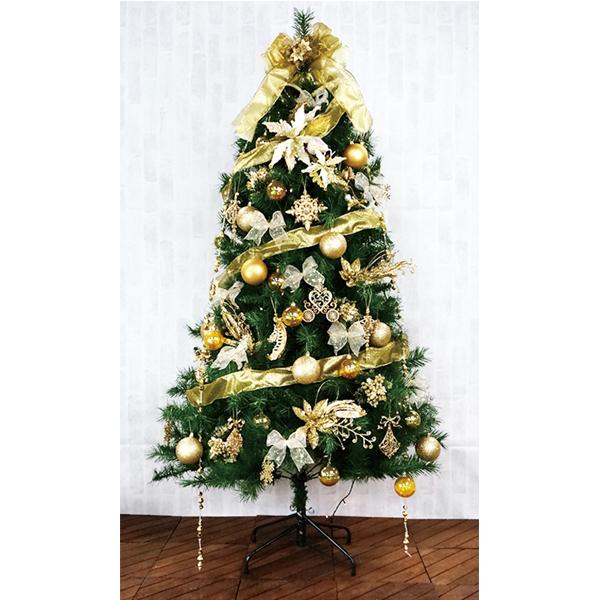 クリスマスツリー 180cm カナディアンツリーセットゴールド 3分割【代引き不可商品】