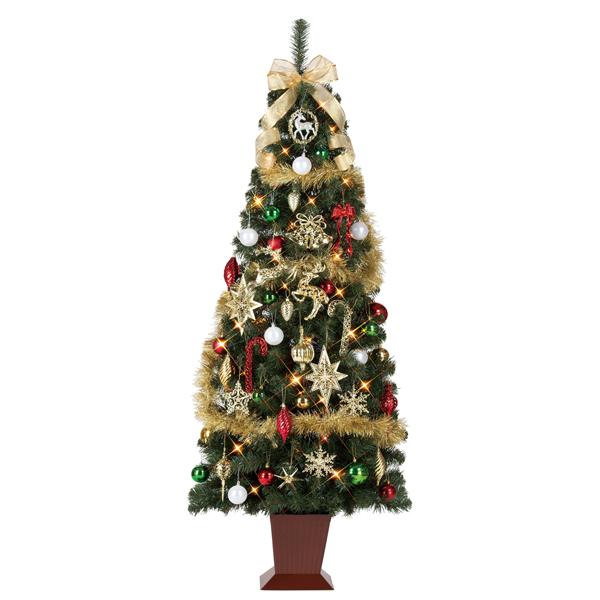 クリスマスツリー セットツリー(四角ポット付き)トラディショナルゴールド 180cm【代引き不可商品】