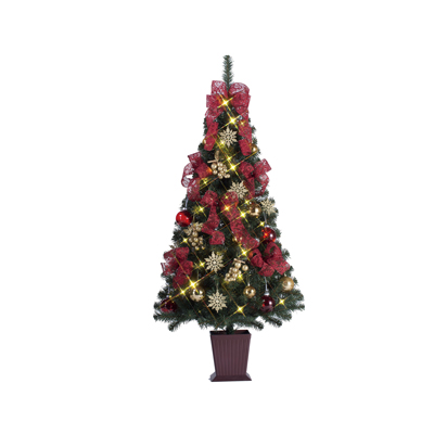 クリスマスツリー セットツリー華レッド&ゴールドグレープ150cm 【代引き不可商品】