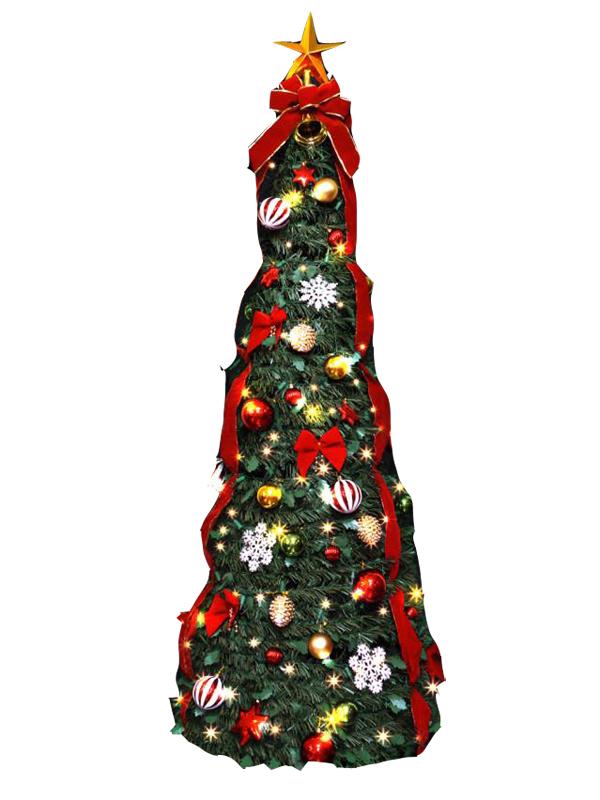 クリスマスツリー 折り畳みツリー 180cm LEDフォールディングクリスマスツリー LED球100球付き【代引き不可商品】持ち運びに便利な折りたためるツリー