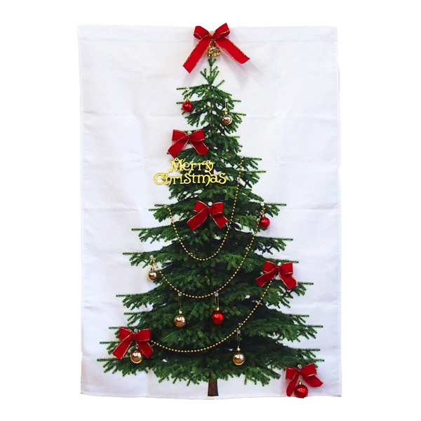 クリスマス 装飾 もみの木タペストリー ボール&リボンセット オーナメントが飾れるタペストリー 記念撮影・インスタ映えに最適