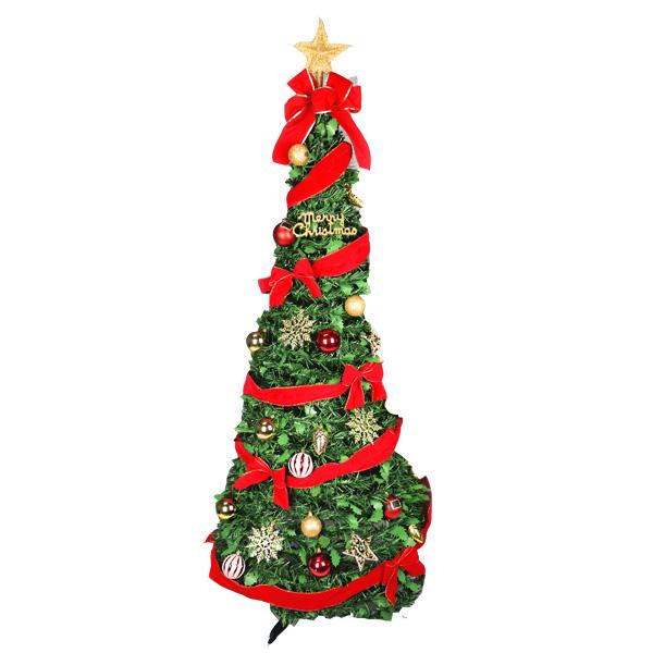 【クリスマスツリー LEDライトで光る】 LEDフォールディングリボンツリー180cm 電池式 単3電池×3本使用※別売 電池BOXは防滴仕様 クリスマスツリー