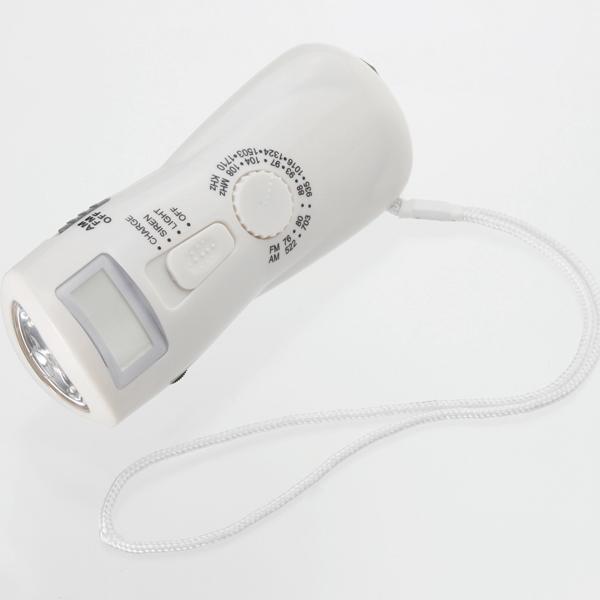 コンパクトAM/FMラジオライト(防犯サイレン付)ハンドルを回して充電 5個セット販売