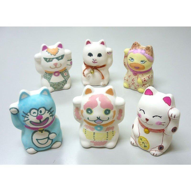お絵かき 招き猫 陶器 絵付け猫 陶器でお絵かき 招き猫 ワークショップ・絵付け体験用にも人気 100個セット販売