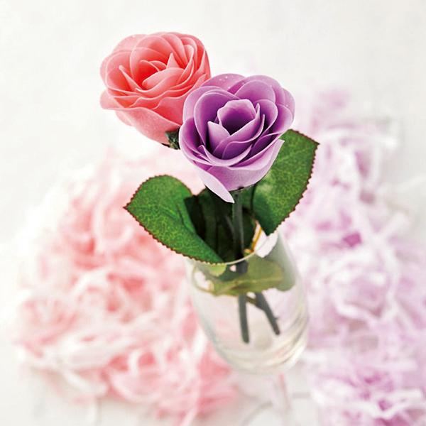 フラワーソープ 薔薇 ローズ一輪プラケース入 優しい香りがただよう、綺麗なペーパーソープ 60個セット販売