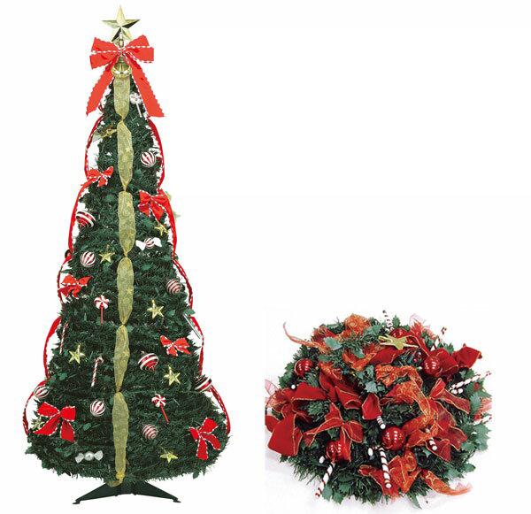 クリスマスツリー 折り畳みツリー 150cmフォールディングキャンディツリー 【代引き不可商品】折りたためて持ち運びに便利 装飾はセッティング済です