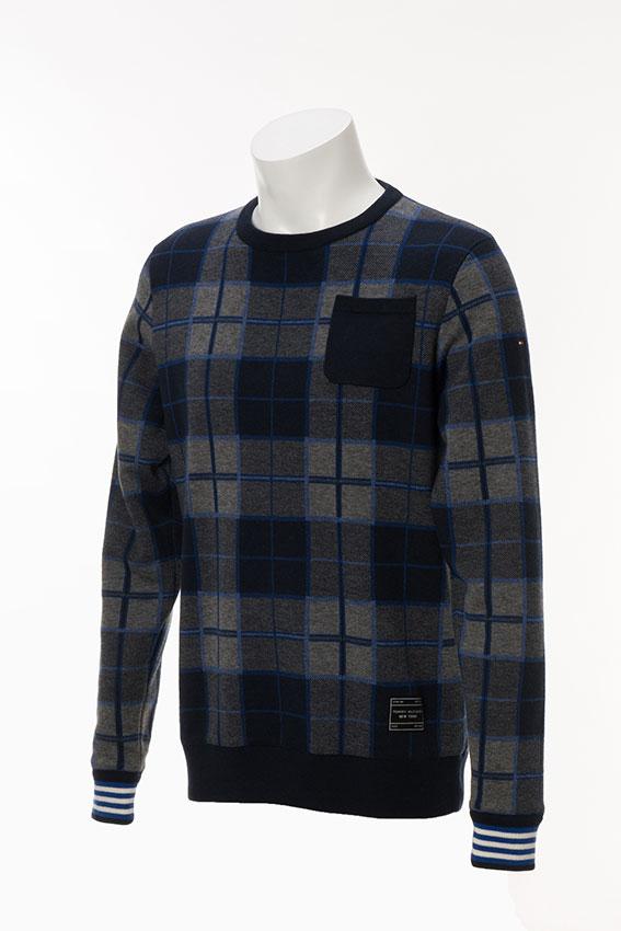 TOMMY HILFIGER GOLF THMA787トミーヒルフィガーゴルフ メンズチェック柄クルーネックセーター