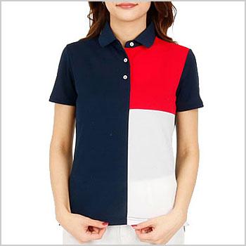 Tommy Hilfiger Ladiesトミーヒルフィガー レディース THトリコColorブロッキングUV半袖ポロシャツ