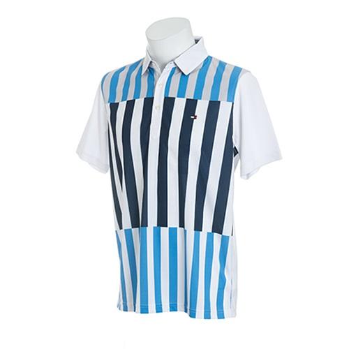 Tommy Hilfiger GOLF Men'sトミーヒルフィガー ゴルフ メンズ ストライプ半袖ポロシャツTHMA853