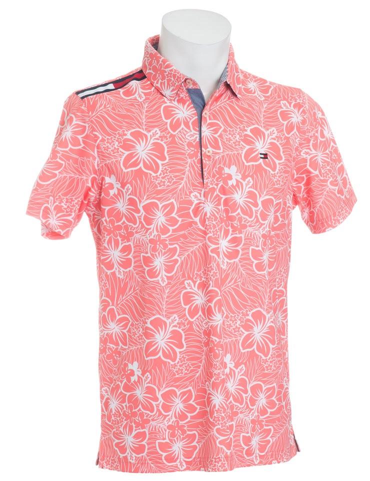 Tommy Hilfiger GOLF Men'sトミーヒルフィガー ゴルフ メンズ ハイビスカス柄半袖ポロシャツTHMA858