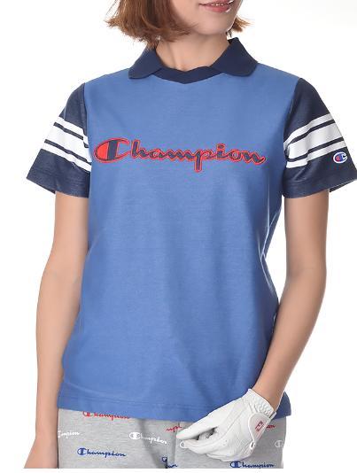 Champion GOLF CW-PG305チャンピオン ゴルフ ウィメンズ デニム風半袖襟付きカットソー