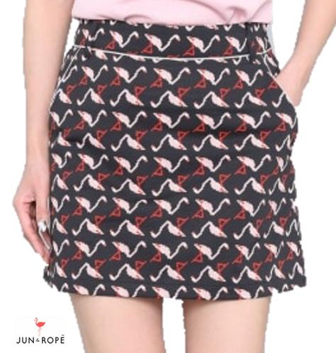 JUN&ROPEERC-39050ジュン&ロペ レディースピクセル フラミンゴ柄スカート