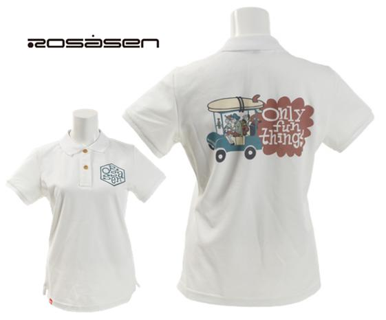 Rosasen 045-29440ロサーセン レディースルーズマンコラボ 半袖ポロシャツ(カート柄)