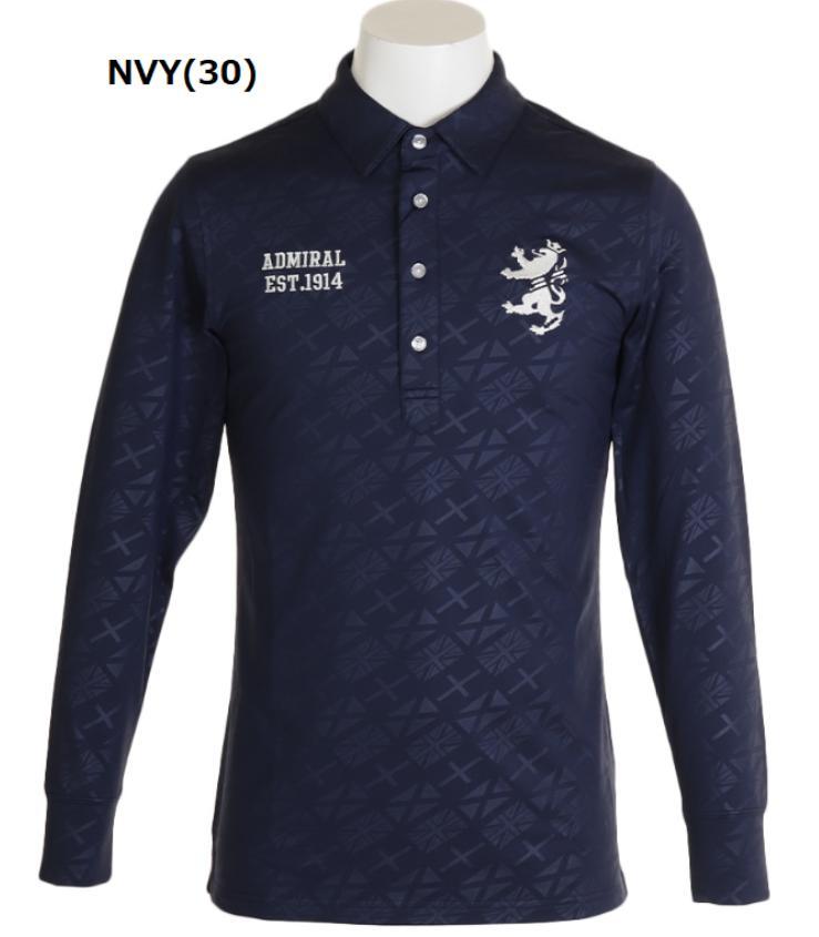 Admiral GOLF ADMA995アドミラル ゴルフ メンズポロシャツ フラッグ エンボス長袖シャツ