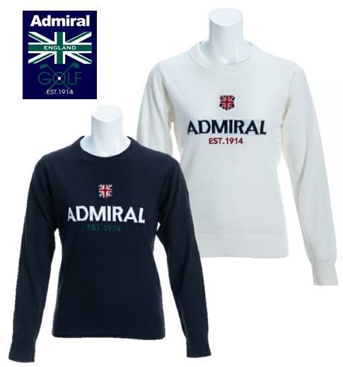 Admiral GOLF ADLA982 アドミラルゴルフ レディースロゴ クルーネックニット