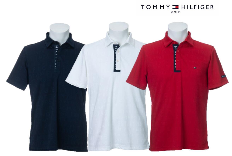TOMMY HILFIGER GOLFTHMA009トミーヒルフィガー ゴルフ メンズロゴジャガード 半袖ポロシャツ