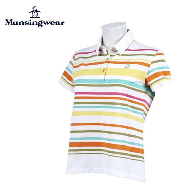 【期間限定価格】MunsingwearMGWPJA06マンシングウェア レディース表鹿の子マルチボーダー半袖シャツ