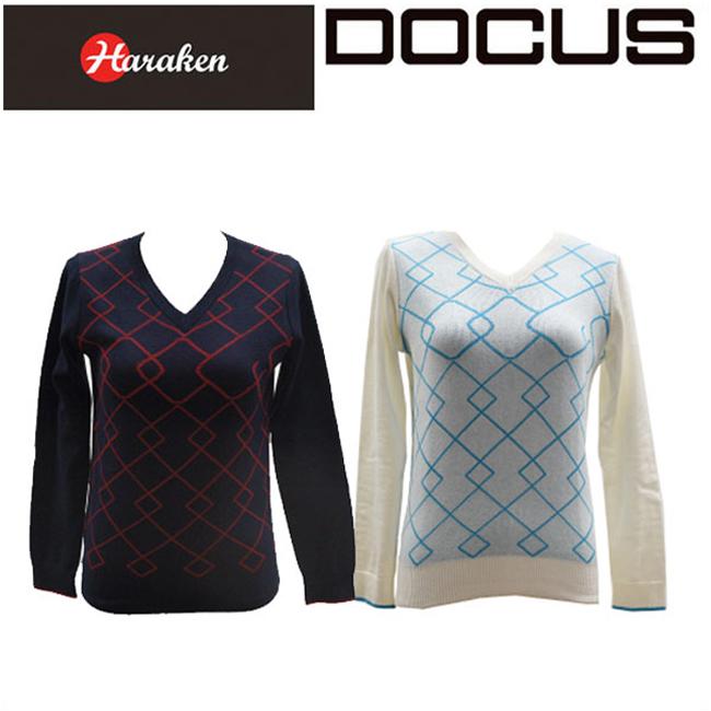 ドゥーカス DOCUS レディースゴルフウェア Vネック ニットシャツ セーター DCL16S004 あす楽