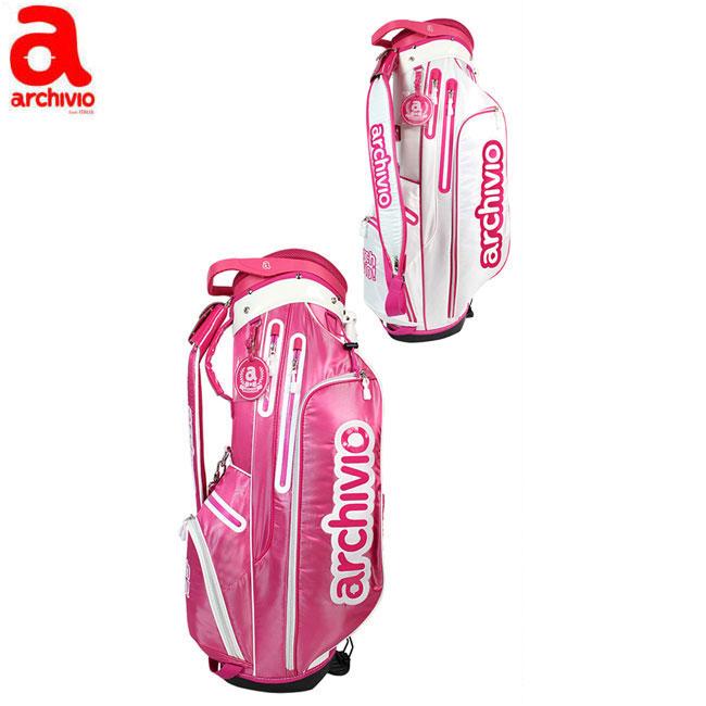 アルチビオ archivio レディース ゴルフ スタンドバッグ キャディバッグ 8.5型 ホワイト ピンク A750409