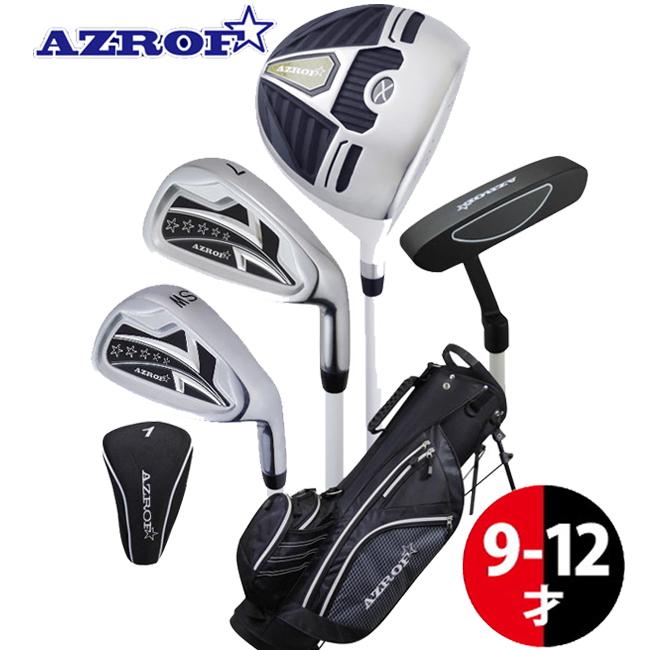 アズロフ AZROF ジュニア用 ゴルフ クラブ ジュニア ゴルフ セット 9 - 12歳 向け 身長 130 - 150cm ブラック AZ-JR7