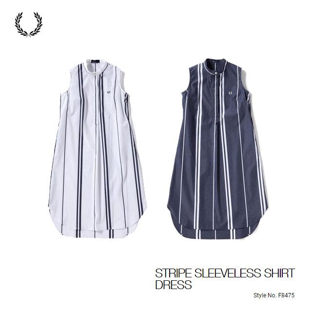 フレッドペリー STRIPE SLEEVELESS SHIRT DRESS レディース ウェア F8475 あす楽