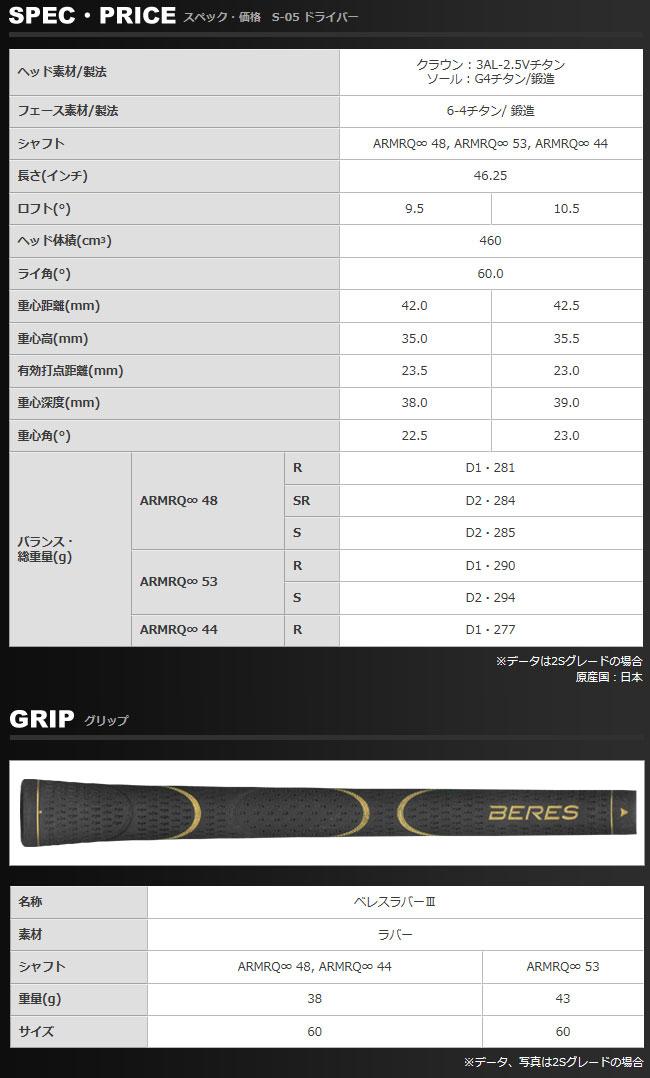 本间高尔夫 BERES S-05 驱动程序 ARMRQ 无限系列