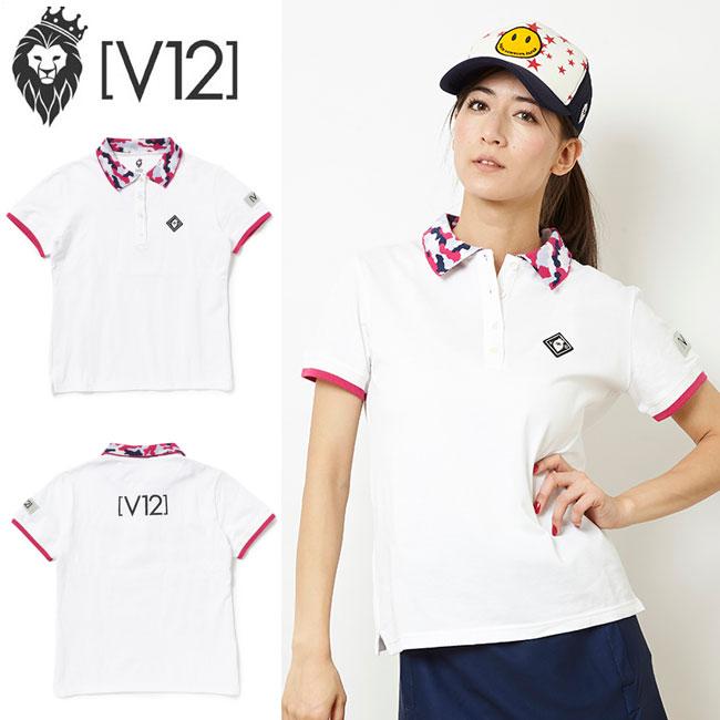 ヴィトゥエルヴ V12 レディース ゴルフウェア カモ カラー ポロシャツ CAMO COLLAR POLO V121810-CT12 ホワイト あす楽