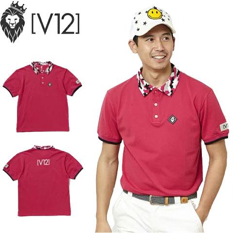 ヴィトゥエルヴ V12 メンズゴルフウェア ポロシャツ CAMO COLLAR POLO ピンク V121810-CT12 PINK あす楽