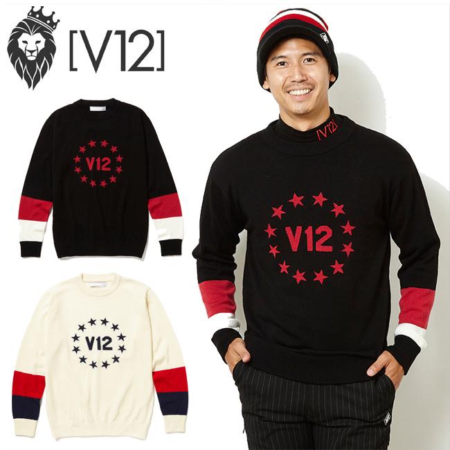 V12 ヴィトゥエルヴ ニット セーター CIRCLE STAR KNIT メンズ ゴルフ ウェア v121820-kn03 あす楽 【newyear_d19】
