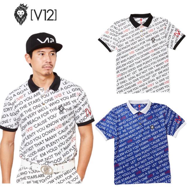 V12 ヴィ トゥエルヴ ポロシャツ シャツ LYRICS POLO メンズ GOLF ゴルフウェア V121910-CT15 コアーズ市場店 取り寄せ