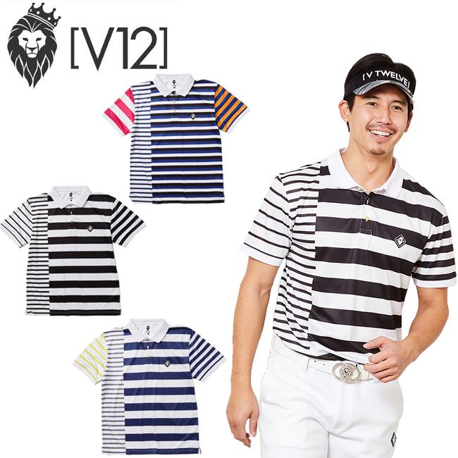 V12 ヴィトゥエルヴ 春夏ポロ クレイジー ボーダー パターン ポロシャツ ゴルフウェア CRAZY BORDER POLO V121910-CT20 あす楽