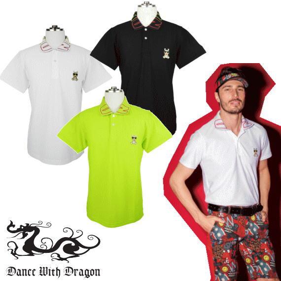 【あす楽】DanceWithDragon ダンスウィズドラゴン メンズ半袖ポロシャツ 春夏 メンズゴルフウェア マルチポロ衿ジャガード d1-125302 ゴルフウェア
