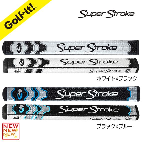 ピストル型 正確なストロークバイキャストポリフォーム素材ゴルフ用品 パター グリップLITE(ライト)GR-204スーパーストローク HV FLATSO 1.0 CCホワイト/ブラック ブラック/ブルー