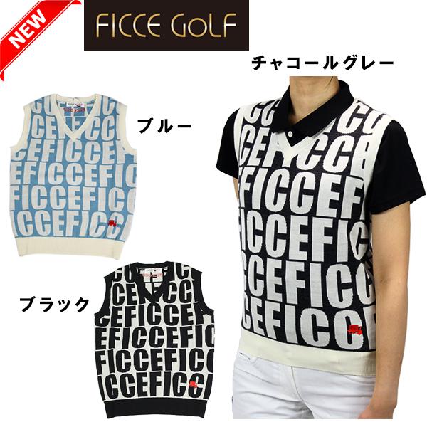 【新作】FICCE GOLF フィッチェゴルフ 282801 ロゴデザインニットベスト Vネックベスト ゴルフ レディース 【ラッキーシール対応】