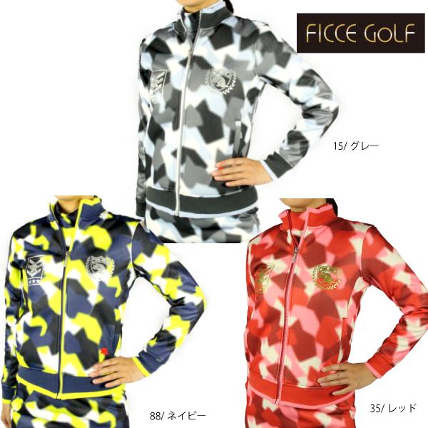 【30%OFF】【2018秋冬】FICCE GOLF フィッチェゴルフ 282816 レディス ゴルフウェア フルジップブルゾン フルジップジャージ 迷彩柄 ケンケンエンブレム プレゼント 小さいサイズ ficce golf