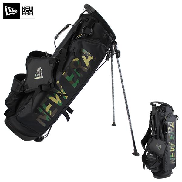【2020春夏モデル】ニューエラ ゴルフ キャディバッグ スタンド式 NEWERA 12325911 9型48インチ 約3kg 5分割 ウッドランドカモプリントロゴ ポーチ付き ゴルフ ゴルフバッグ ゴルフ用品 ラウンド用品 NEWERA Golf