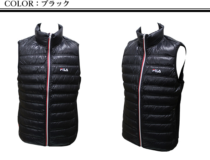 Down vest men golf wear FILA Golf 786-209 who thermal insulation is light by a Fila golf tricolor down vest fleece material and down warmly, and are mobile