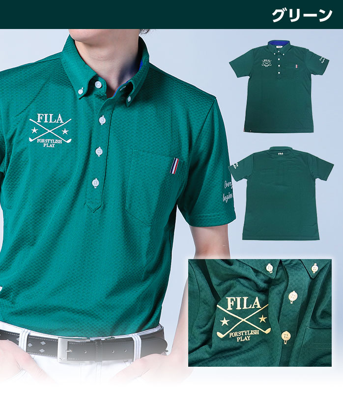 The 747-677 GOLF wear that a design rises to the high-performance polo movement of the polo shirt sweat perspiration fast-dry UV cut that FILA jacquard block check is button-downed shiningly