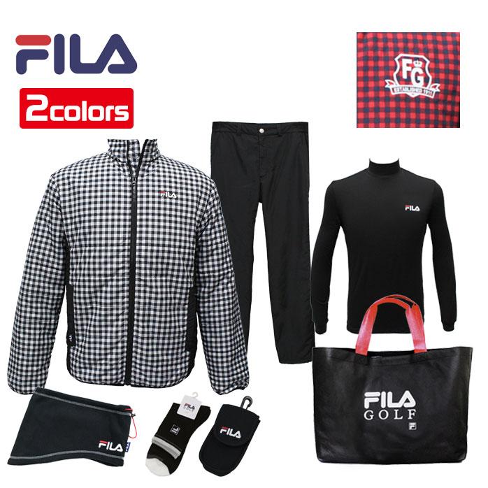 【1月1日からの発送】 FILA 2019年モデル 新春 福袋 6点セット+バッグ付き メンズ フィラ ゴルフ 男性用 シンプルで合わせやすい トータルコーディネート 選べる2カラー