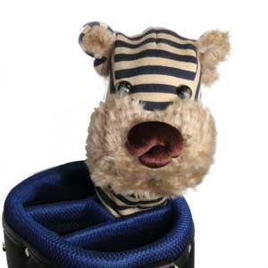 ハンドメイド 数量限定 犬のヘッドカバー ボーダー タイムセール ジャージー生地 《ゴールドネイビー》 ユーティリティ用 ヘッドカバー 人気ブランド多数対象