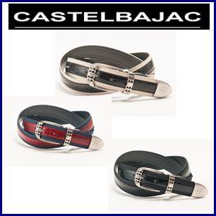 【送料無料】CASTELBAJAC カステルバジャック 牛革型押し布布使ベルト【23602-133】