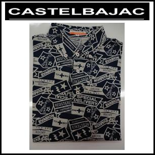 【送料無料】CASTELBAJAC カステルバジャック メンズ 綿 柄物 ボタンダウン 半袖シャツ【ネイビー】23570-306