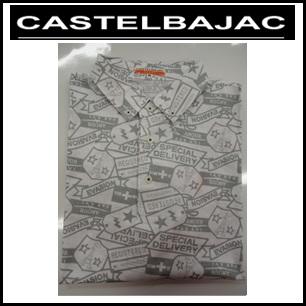 【送料無料】CASTELBAJAC カステルバジャック メンズ 綿 柄物 ボタンダウン 半袖シャツ【ホワイト】23570-306