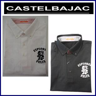 【送料無料】CASTELBAJAC FELIX The CATカステルバジャック フェリックス後ろ大柄プリント入り ボタンダウン半袖シャツ メンズウェア 23970-101