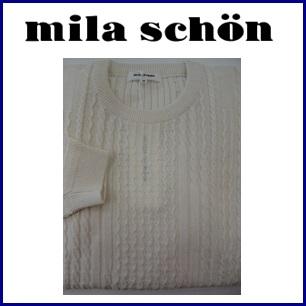 【送料無料】mila schon ミラショーン シルク&綿 丸首サマーセーター『ホワイト』31880-111